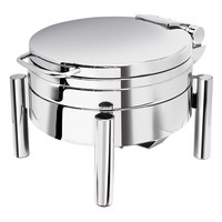 Eastern Tabletop 3979S Jazz Swing 4 Qt. Stainless Steel Round Induction / Traditional Chafer with Pillar'd Stand and Hinged Dome Cover