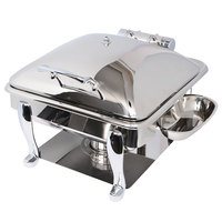 Eastern Tabletop 3934S Crown 6 Qt. Stainless Steel Square Induction / Traditional Chafer with Freedom Stand and Hinged Dome Cover