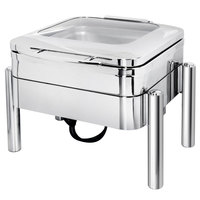 Eastern Tabletop 3977GS Jazz 4 Qt. Stainless Steel Square Induction / Traditional Chafer with Pillar'd Stand and Hinged Glass Dome Cover