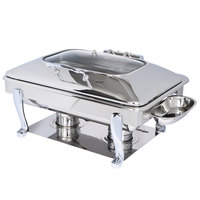 Eastern Tabletop 3935GS Crown 8 Qt. Stainless Steel Rectangular Induction / Traditional Chafer with Freedom Stand and Hinged Glass Dome Cover