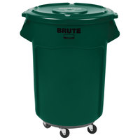 Rubbermaid BRUTE 55 Gallon Green Trash Can with Lid and Dolly