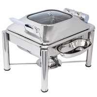 Eastern Tabletop 3964GPL Crown 4 Qt. Stainless Steel Square Induction / Traditional Chafer with Pillar'd Stand and Hinged Glass Dome Cover