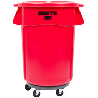 Rubbermaid BRUTE 44 Gallon Red Trash Can with Lid and Dolly