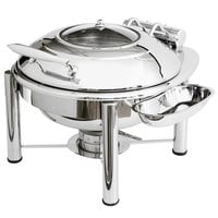 Eastern Tabletop 3938GPL Crown 6 Qt. Stainless Steel Round Induction Chafer with Pillar'd Stand and Hinged Glass Dome Cover