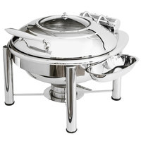 Eastern Tabletop 3938GPL Crown 6 Qt. Stainless Steel Round Induction / Traditional Chafer with Pillar'd Stand and Hinged Glass Dome Cover