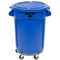 Rubbermaid BRUTE 32 Gallon Blue Trash Can with Lid and Dolly