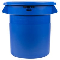 Rubbermaid BRUTE 10 Gallon Blue Trash Can and Lid