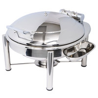 Eastern Tabletop 3938PL Crown 6 Qt. Stainless Steel Round Induction / Traditional Chafer with Pillar'd Stand and Hinged Dome Cover