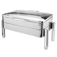 Eastern Tabletop 3975GS Jazz Swing 8 Qt. Stainless Steel Rectangular Induction / Traditional Chafer with Pillar'd Stand and Hinged Glass Dome Cover