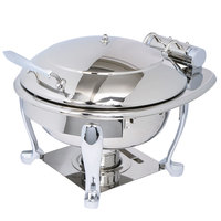 Eastern Tabletop 3939S Crown 4 Qt. Stainless Steel Round Induction / Traditional Chafer with Freedom Stand and Hinged Dome Cover