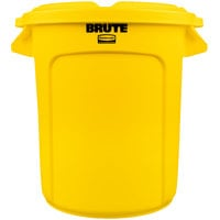Rubbermaid BRUTE 10 Gallon Yellow Trash Can and Lid