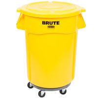 Rubbermaid BRUTE 44 Gallon Yellow Trash Can with Lid and Dolly