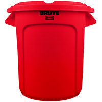 Rubbermaid BRUTE 10 Gallon Red Trash Can and Lid