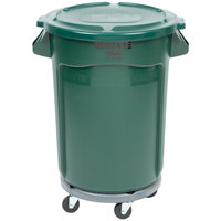 Rubbermaid BRUTE 32 Gallon Green Trash Can with Lid and Dolly