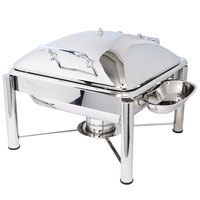 Eastern Tabletop 3934PL Crown 6 Qt. Stainless Steel Square Induction / Traditional Chafer with Pillar'd Stand and Hinged Dome Cover