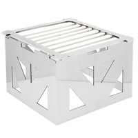 Eastern Tabletop 1741 LeXus 8 inch x 8 inch x 5 inch Stainless Steel Square Cube with Fuel Shelf and Grate