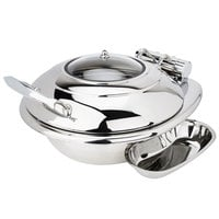 Eastern Tabletop 3939G Crown 4 Qt. Stainless Steel Round Induction Chafer with Hinged Glass Dome Cover