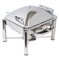Eastern Tabletop 3964PL Crown 4 Qt. Stainless Steel Square Induction / Traditional Chafer with Pillar'd Stand and Hinged Dome Cover