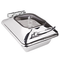 Eastern Tabletop 3964G Crown 4 Qt. Stainless Steel Square Induction Chafer with Hinged Glass Dome Cover