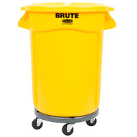 Rubbermaid BRUTE 32 Gallon Yellow Trash Can with Lid and Dolly