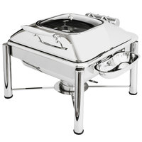 Eastern Tabletop 3934GPL Crown 6 Qt. Stainless Steel Square Induction / Traditional Chafer with Pillar'd Stand and Hinged Glass Dome Cover
