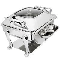 Eastern Tabletop 3934GS Crown 6 Qt. Stainless Steel Square Induction / Traditional Chafer with Freedom Stand and Hinged Glass Dome Cover