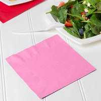 Creative Converting 663042B Candy Pink 2-Ply 1/4 Fold Luncheon Napkin - 50/Pack