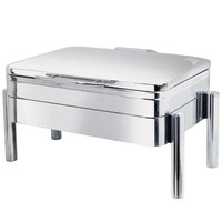 Eastern Tabletop 3975S Jazz Swing 8 Qt. Stainless Steel Oblong Induction / Traditional Chafer with Pillar'd Stand and Hinged Dome Cover