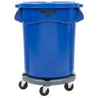 Rubbermaid BRUTE 20 Gallon Blue Trash Can with Lid and Dolly