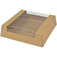 9 inch x 9 inch x 2 1/2 inch Kraft Window Pie / Bakery Box - 100 / Case