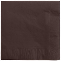 Creative Converting 573038B Chocolate Brown 3-Ply Beverage Napkin - 50/Pack