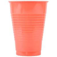 Creative Converting 28314671 12 oz. Coral Orange Plastic Cup - 20/Pack