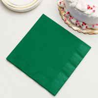 Emerald Green 3-Ply Dinner Napkin, Paper - Creative Converting 59112B - 25/Pack