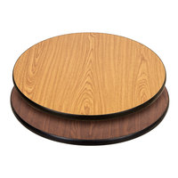 "Lancaster Table &amp&#x3b; Seating 24"" Laminated Round Table Top Reversible Walnut / Oak"