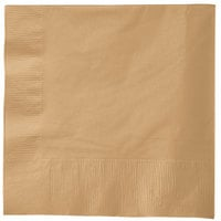 Creative Converting 583276B Glittering Gold 3-Ply 1/4 Fold Luncheon Napkin   - 50/Pack