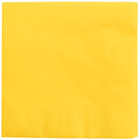 Creative Converting 571021B School Bus Yellow 3-Ply Beverage Napkin - 50/Pack