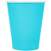 Creative Converting 561039B 9 oz. Bermuda Blue Poly Paper Hot / Cold Cup - 24/Pack