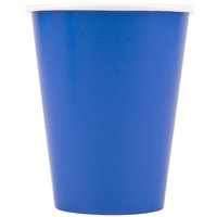 Creative Converting 563147B 9 oz. Cobalt Blue Poly Paper Hot / Cold Cup - 24/Pack