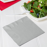 Creative Converting 663281B Shimmering Silver 2-Ply 1/4 Fold Luncheon Napkin - 50/Pack