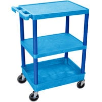 Luxor BUSTC221BU Blue 3 Shelf Utility Cart