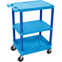Luxor / H. Wilson BUSTC221BU Blue 3 Shelf Utility Cart - 1 Tub Shelf, 24 inch x 18 inch x 37 1/2 inch