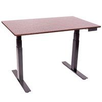 Luxor STANDE-60-BK/DW Dark Walnut Electric Adjustable Standing Desk with Black Steel Frame - 60 inch
