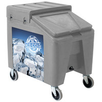 Gray Ice Caddy II 140 lb. Mobile Ice Bin / Beverage Merchandiser