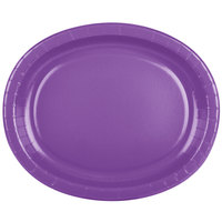 Creative Converting 318924 12 inch x 10 inch Amethyst Purple Oval Paper Platter - 8/Pack