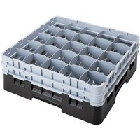 Cambro 25S900110 Camrack 9 3/8 inch High Customizable Black 25 Compartment Glass Rack