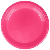 "Creative Converting 28177021 9"" Hot Magenta Pink Plastic Plate - 20/Pack"