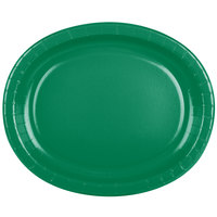 Creative Converting 433261 12 inch x 10 inch Emerald Green Oval Paper Platter - 8/Pack