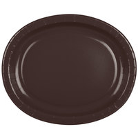 Creative Converting 433038 12 inch x 10 inch Chocolate Brown Oval Paper Platter - 8/Pack