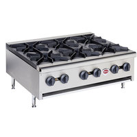Wells HDHP-3630G Natural Gas Heavy Duty 36 inch Six Burner Countertop Hot Plate - 129,000 BTU