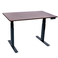 Luxor STANDE-48-BK/DW Dark Walnut Electric Adjustable Standing Desk with Black Steel Frame - 48 inch